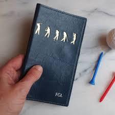 gold monogram golf scorecard holder
