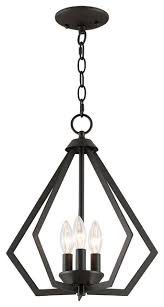 prism 3 light mini chandelier ceiling mount bronze