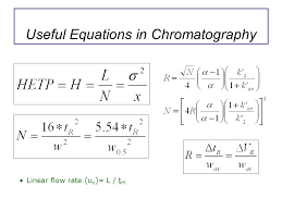 7 useful equations in chromatography linear flow rate u x l t m