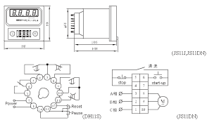 electronic timing relays js11s dh11s js11j js11dn digital display outline dimensions and wiring diagram electronic timing relays electronic timing relays
