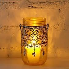 Henna Design Decorated Mason Jar Candle Decor