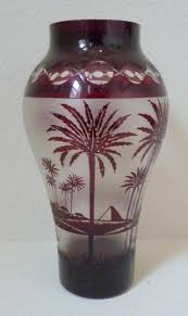 850 kralik cameo glass vase lamp base with palm trees fire polished hole in base