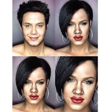 man uses makeup to transform himself into female celebrities
