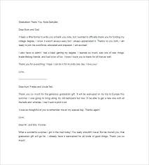 Graduation Thank You Note College Graduation Thank You Letter Examples Congratulation
