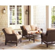 hampton bay woodbury 4 piece wicker outdoor patio seating set with textured sand cushion