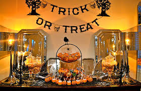 Charming Table For Diy Halloween Decor With Table Lamps And Mirrors Plus  Cute Candies Applying Pumpkin