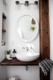 astounding mirror over awesome small vessel sinks and white wall bathroom