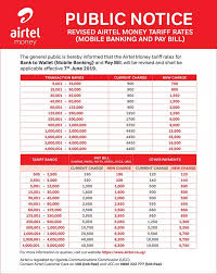 Airtel Rate Chart In Uganda Airtel Money Charges In 2019 Including Mobile