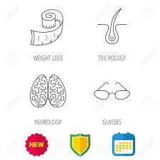 Weight Loss Calendar Glasses Neurology And Trichology Icons Weight Loss Linear Sign