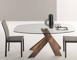 oval glass dining table. moa, modern extra clear glass table with a base in walnut canaletto by compar thumbnail oval dining \