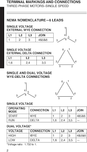dual vole wye delta connections 6 single vole operating mode connection l l l3 join start 3 terminal markings and connections three phase motors