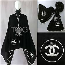 chanel scarf. rare auth chanel xl large cc logo black white cashmere silk scarf shawl stole a