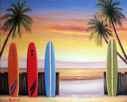 2018 framed surfboard c beach sunset art palm trees waves pure hand painted seascape art oil painting on canvas multi sizes from coffee starbucks
