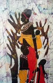 african art batik painting tribal family mom children with tree s
