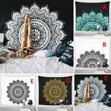 indian mandala tapestry wall hanging lotus flower bohemian square table cover home decoration style black white size 148 148cm com