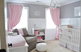Baby Nursery Decor, Ottoman Pauf Baby Girl Nursery Ideas Pink And Grey  Archaic Interior Design