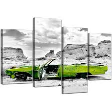 >20 best collection of green canvas wall art canvas art of green car in black white for your office pertaining to most up
