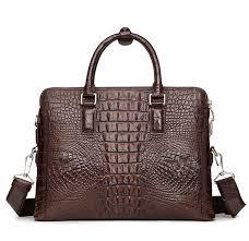 business mens crocodile leather briefcase bag handbag laptop shoulder bag back