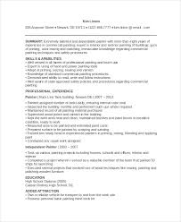 resume for a painter