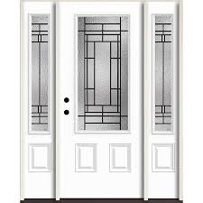 reliabilt pembrook 3 4 lite decorative glass right hand inswing fiberglass prehung entry door with sidelights and insulating core common 60 in x 80 in