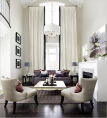 Elegant Style Country French Warm Living Room In Narrow Spaces With Amazing  White Fabric Curtains Rod