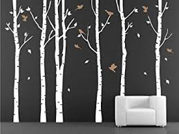 vinyl wall decal birch tree decals for nursery stickers on white birch tree wall art with woodland birch tree wall decal animals art aishilely