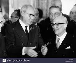 Amintore Fanfani with President Saragat Stock Photo - Alamy