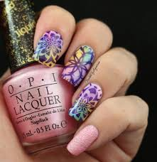 Watercolor Kaleidoscope: Stamped Nail Art Design for #NAILlinkup