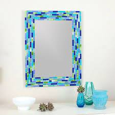 modern mosaic wall mirror in blue and