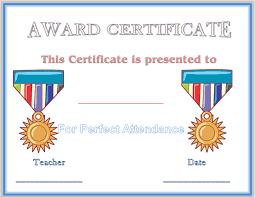 School Award Certificate Templates Perfect Attendance Award ...