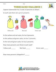 Christmas Math Worksheetsfree printable christmas worksheets three sacks challenge 1