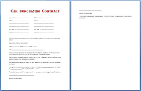 Contract Agreement Templates Sample Car And Security Deposit Letter ...