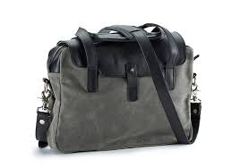 compact leather waxed canvas briefcase