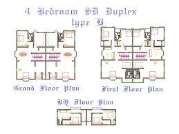 Gorgeous 4 Bedroom Duplex House Plans Triplex House Floor Plans 4 Bedroom Duplex Floor Plans