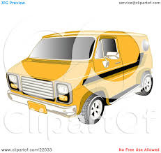 Clipart Illustration of a Yellow 1979 Chevy Van With Tinted ...