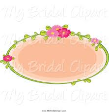 bridal clipart of a pink oval with a flower and stem frame