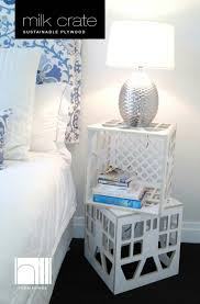 painted plastic milk crate nightstand