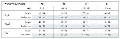 Womens Swimwear Size Chart Mosmann Australia
