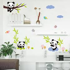 cartoon forest panda bamboo birds tree wall stickers for kids room baby nursery room decor animals wall decals mural art panda wall sticker cartoon forest