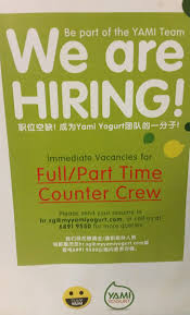 14 job vacancies in singapore job ads spotted parttimejobs sg interested in a job one of singapore s largest yogurt chain yami yogurt is hiring immediate job vacancies for full part time counter crew should you