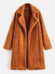 fashion lapel collar plain faux fur teddy coat light brown s