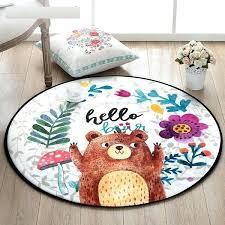 circle area rug cartoon bear round carpet hand drawn mushroom bedroom area rug non slip floor circle area rug