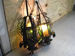 2 vintage stained glass hanging light fixtures