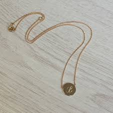 personalised solid 9ct gold disc necklace with initial