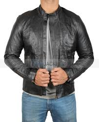 nation biker mens black wrinkled leather jacket