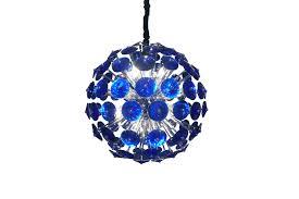 hanging lamp marquee Ø75 cm silver dark blue crystal