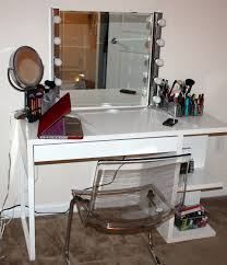 white diy vanity table with shelf underneath for make up and glass chair design