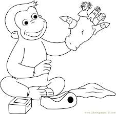 Curious George Playing Puppets Fingers Game Coloring Page Free