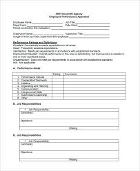 Sample Performance Evaluation Form 7 Documents In Word Employee ...