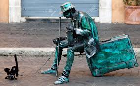stock photo the term living statue refers to a mime artist who poses like a statue or mannequin usually with realistic statue like makeup sometimes for